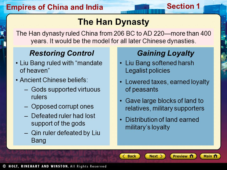 The Han Dynasty Restoring Control Gaining Loyalty