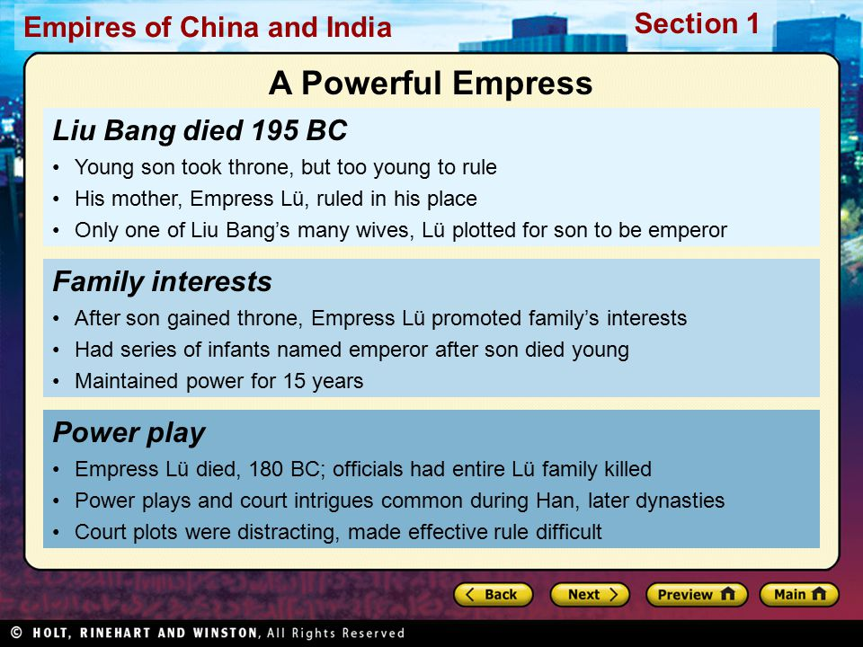 A Powerful Empress Liu Bang died 195 BC Family interests Power play