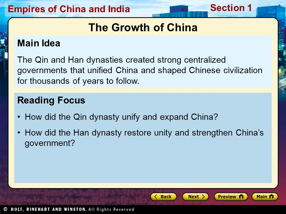 The Growth of China Main Idea Reading Focus