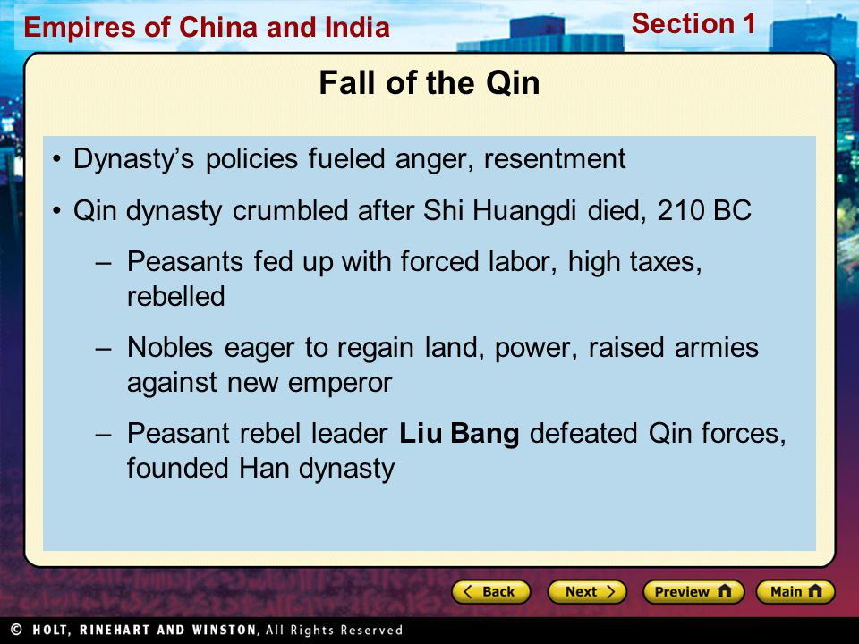 Fall of the Qin Dynasty's policies fueled anger, resentment