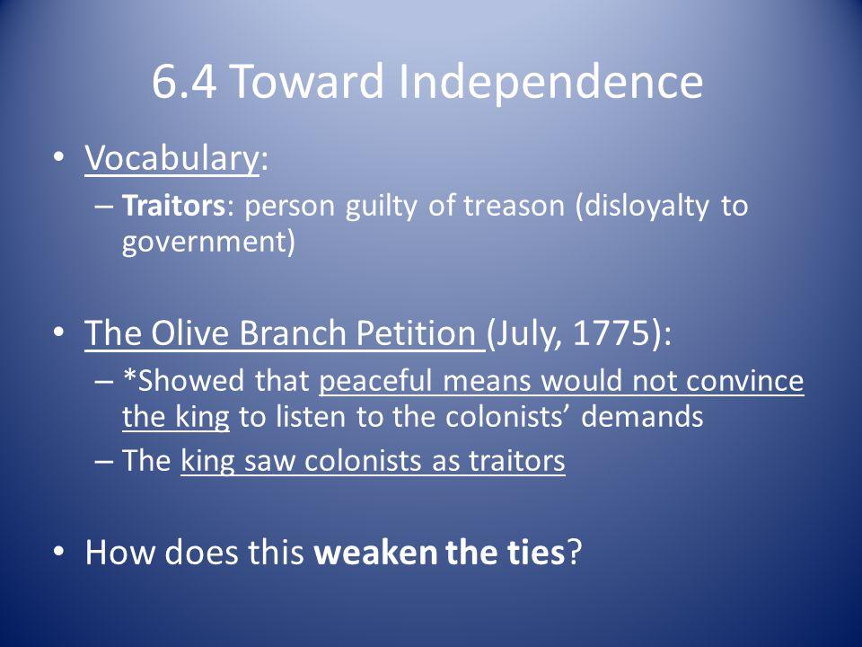 6.4 Toward Independence Vocabulary: