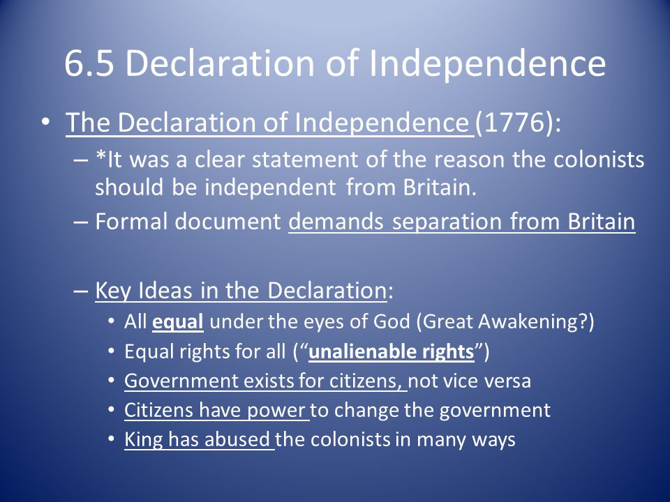 6.5 Declaration of Independence