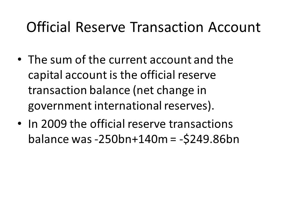 Official Reserve Transaction Account