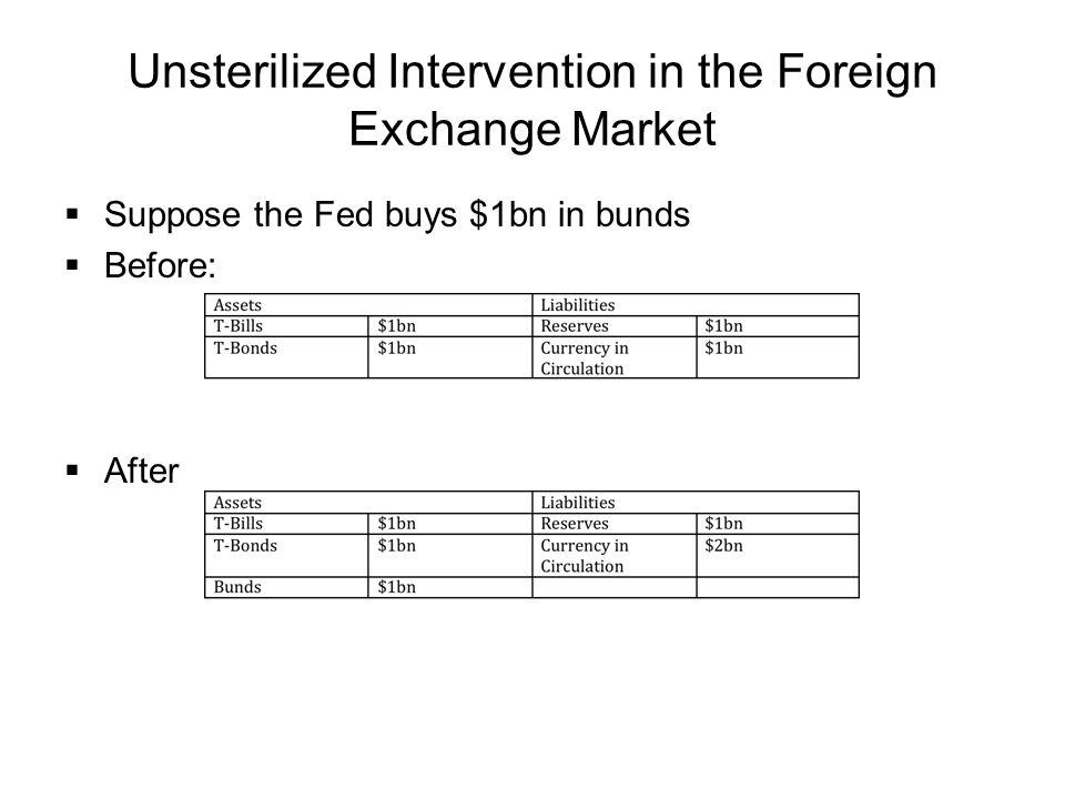 Unsterilized Intervention in the Foreign Exchange Market