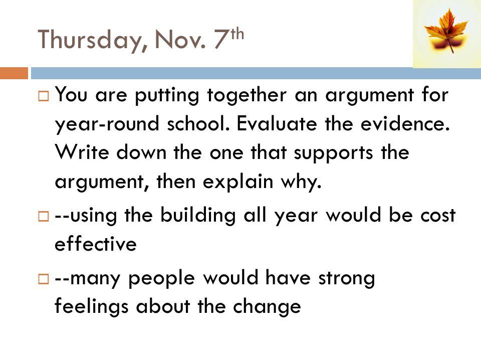Thursday, Nov. 7th