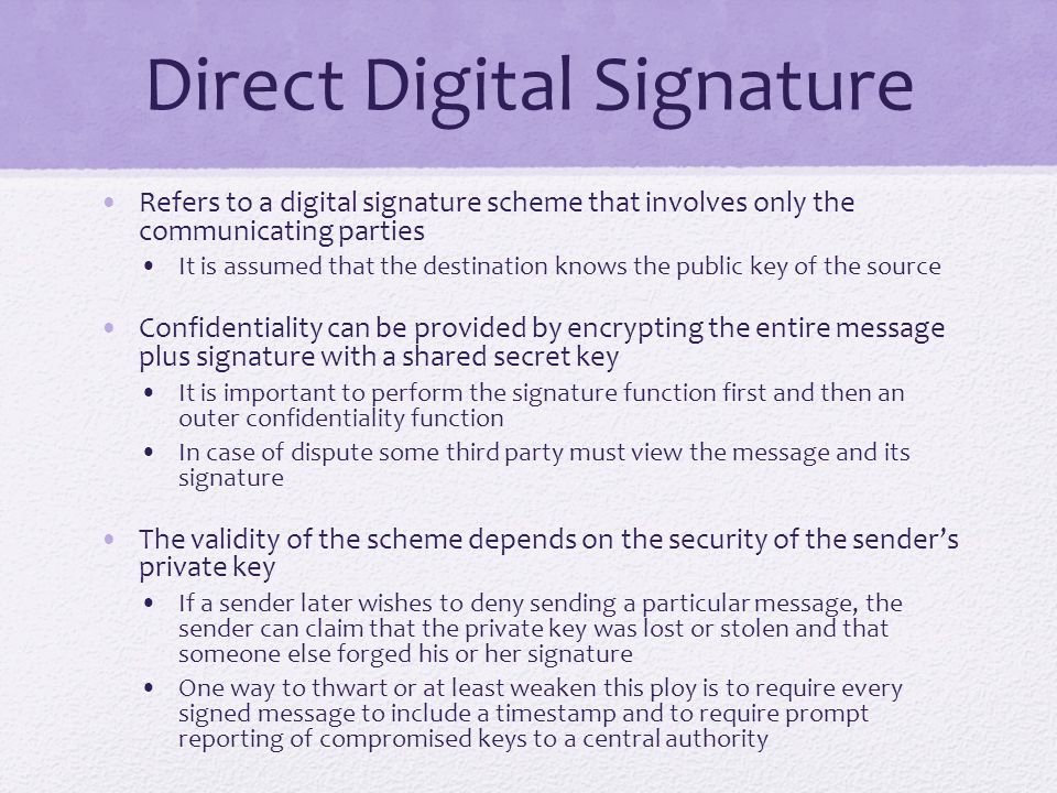 Direct Digital Signature