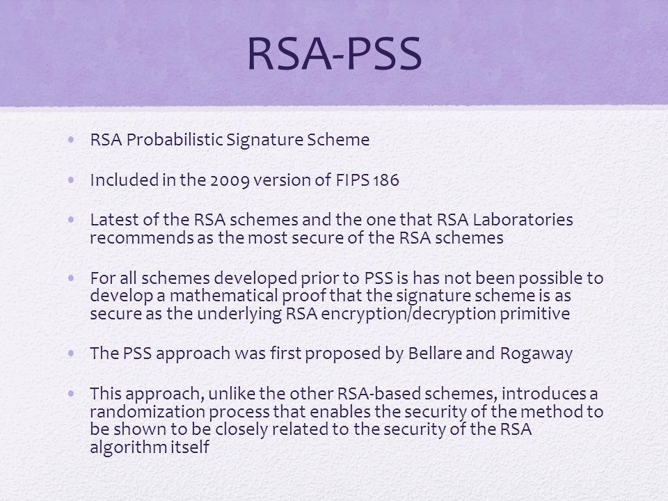 RSA-PSS RSA Probabilistic Signature Scheme