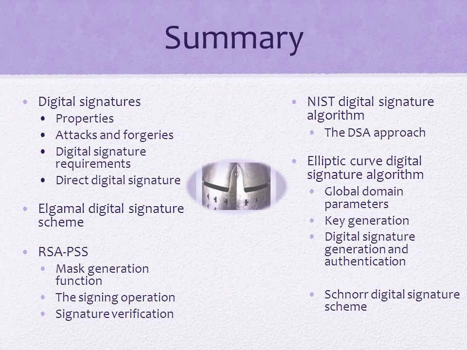 Summary Digital signatures Elgamal digital signature scheme RSA-PSS