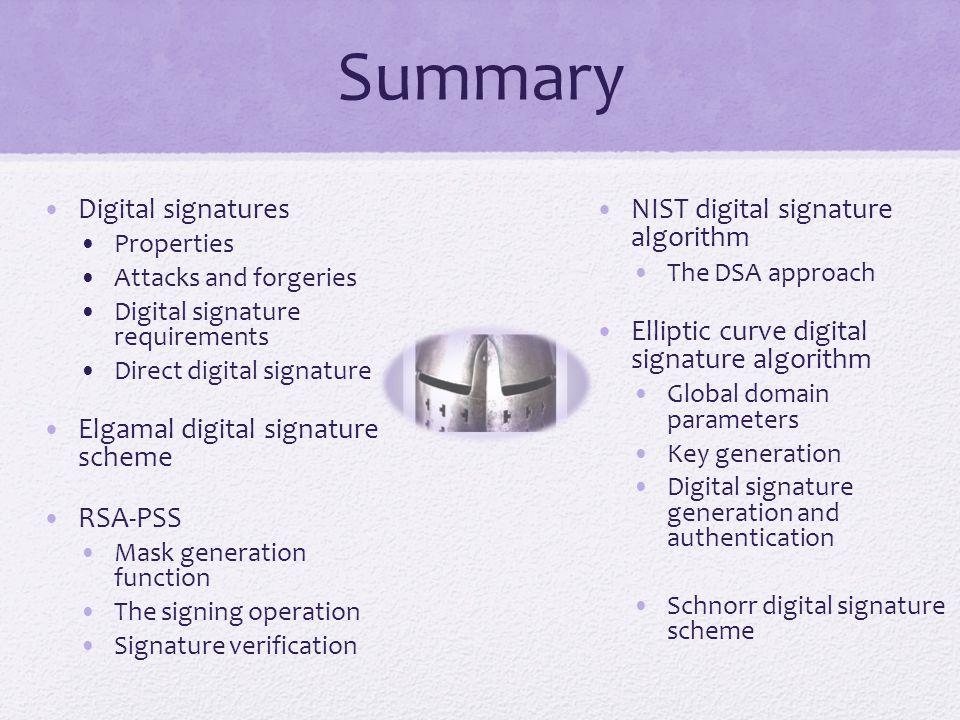 Summary Digital signatures Elgamal digital signature scheme RSA-PSS