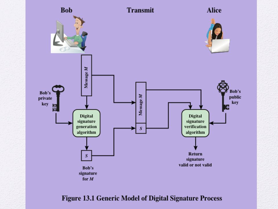 Figure 13.1 is a generic model of the process of making and using digital signatures.
