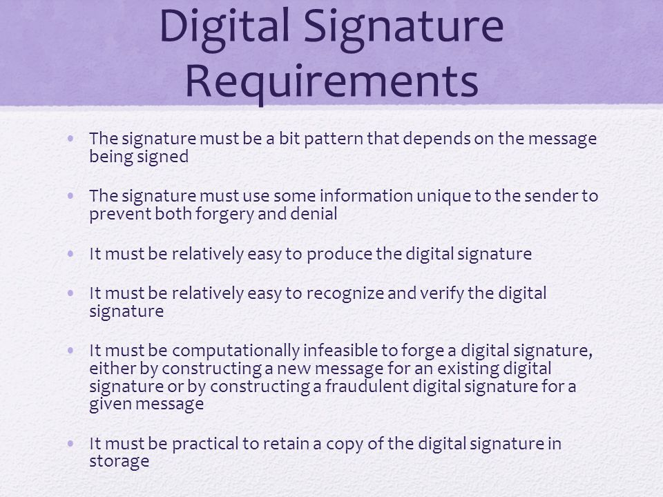 Digital Signature Requirements