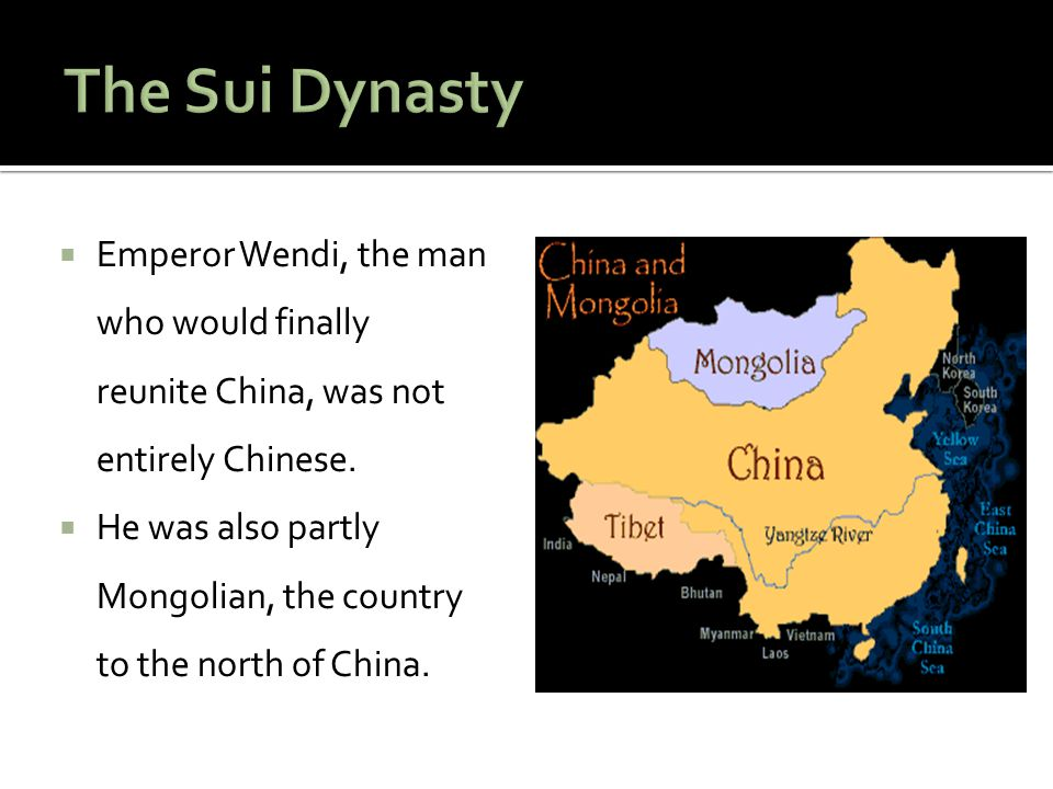 The Sui Dynasty Emperor Wendi, the man who would finally reunite China, was not entirely Chinese.