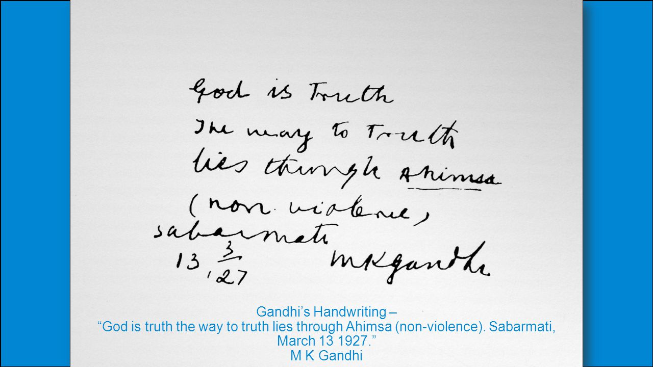 Gandhi's Handwriting –