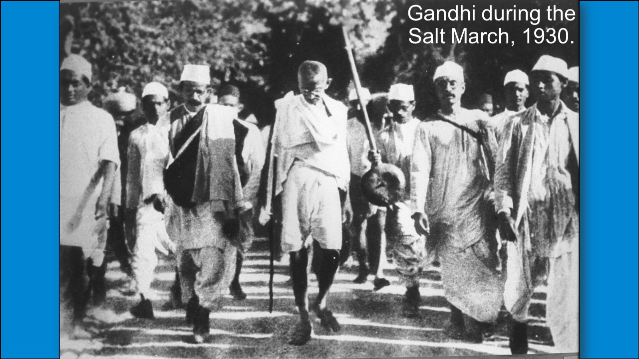 Gandhi during the Salt March, 1930.