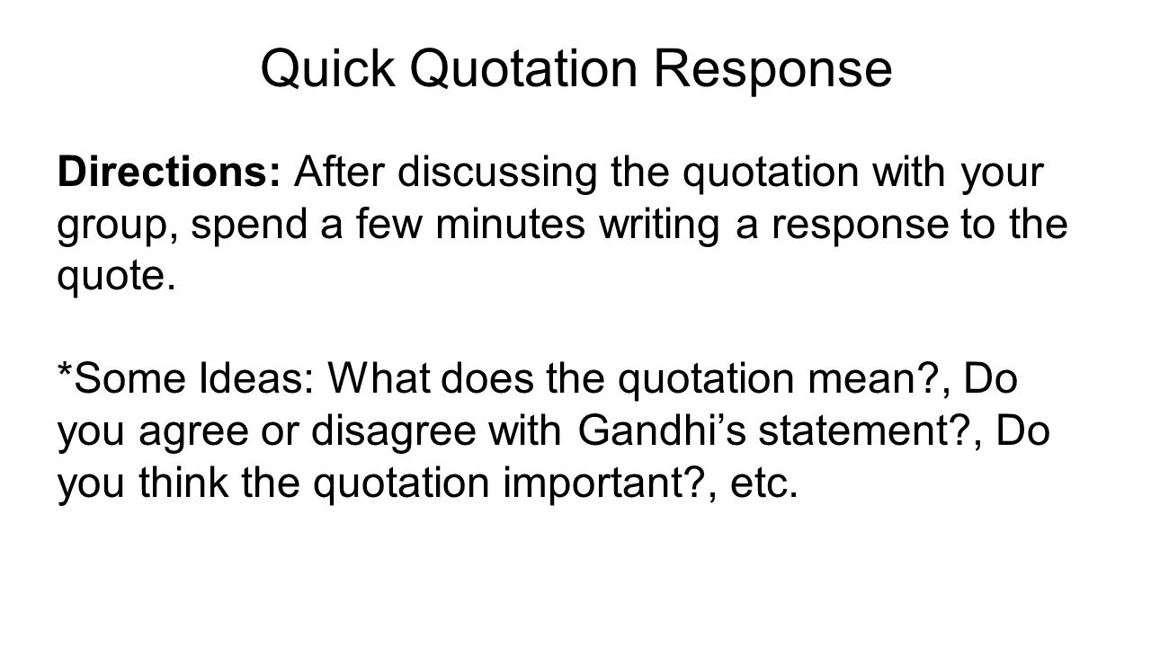Quick Quotation Response