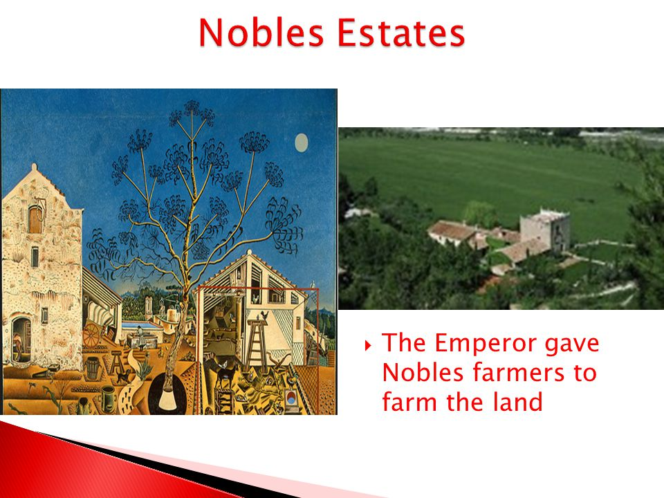 Nobles Estates The Emperor gave Nobles farmers to farm the land