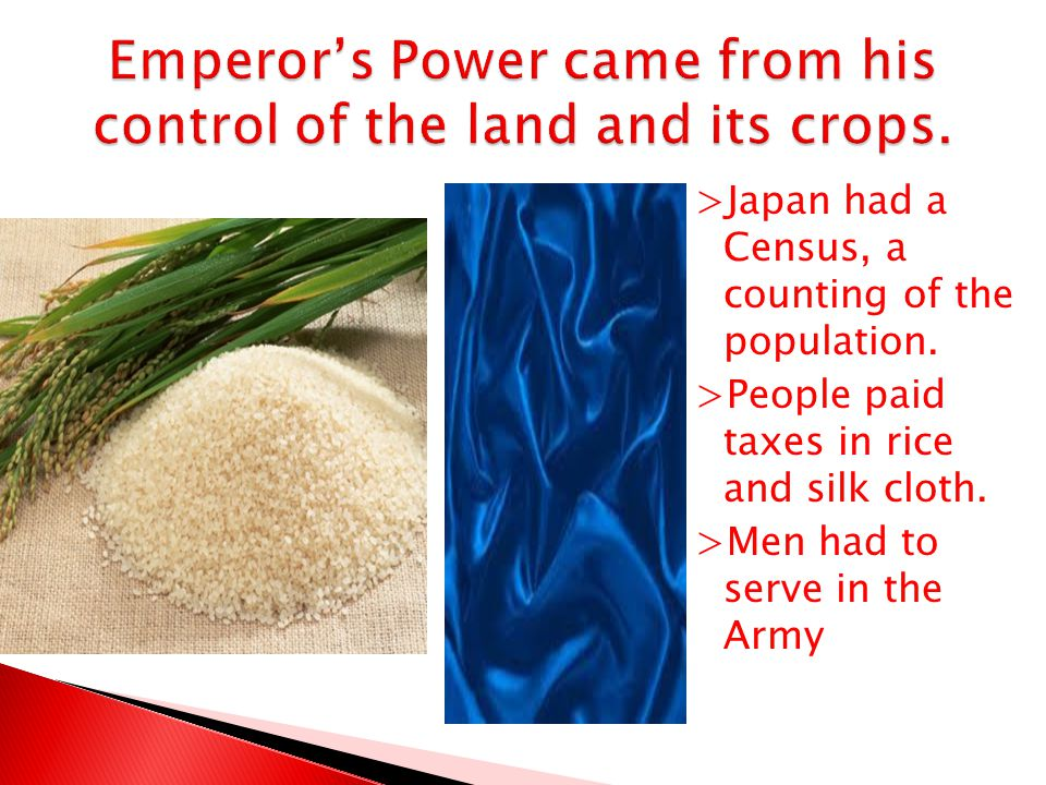 Emperor's Power came from his control of the land and its crops.