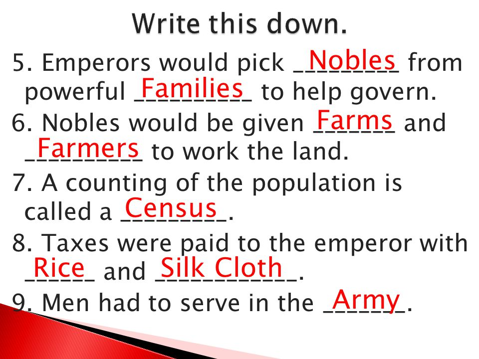 Write this down. Nobles Families Farms Farmers Census Rice Silk Cloth