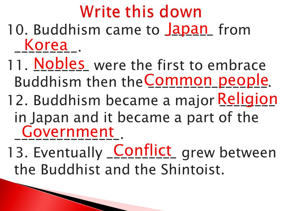Write this down Japan Korea Nobles Common people Religion Government
