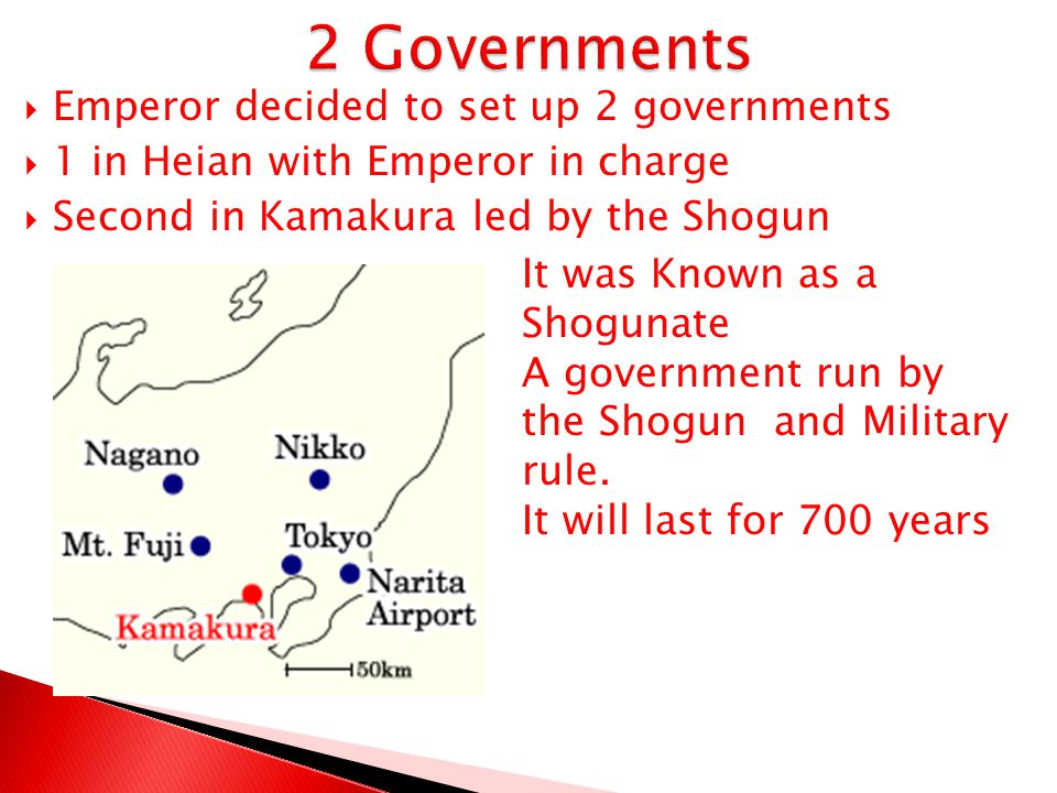 2 Governments Emperor decided to set up 2 governments