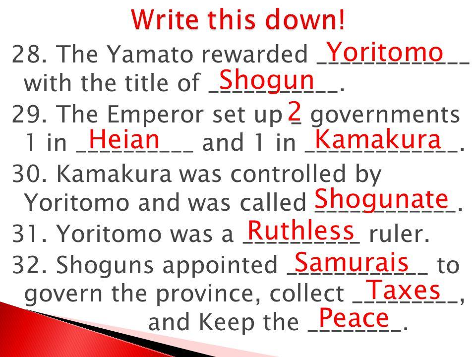 Write this down! Yoritomo Shogun 2 Heian Kamakura Shogunate Ruthless
