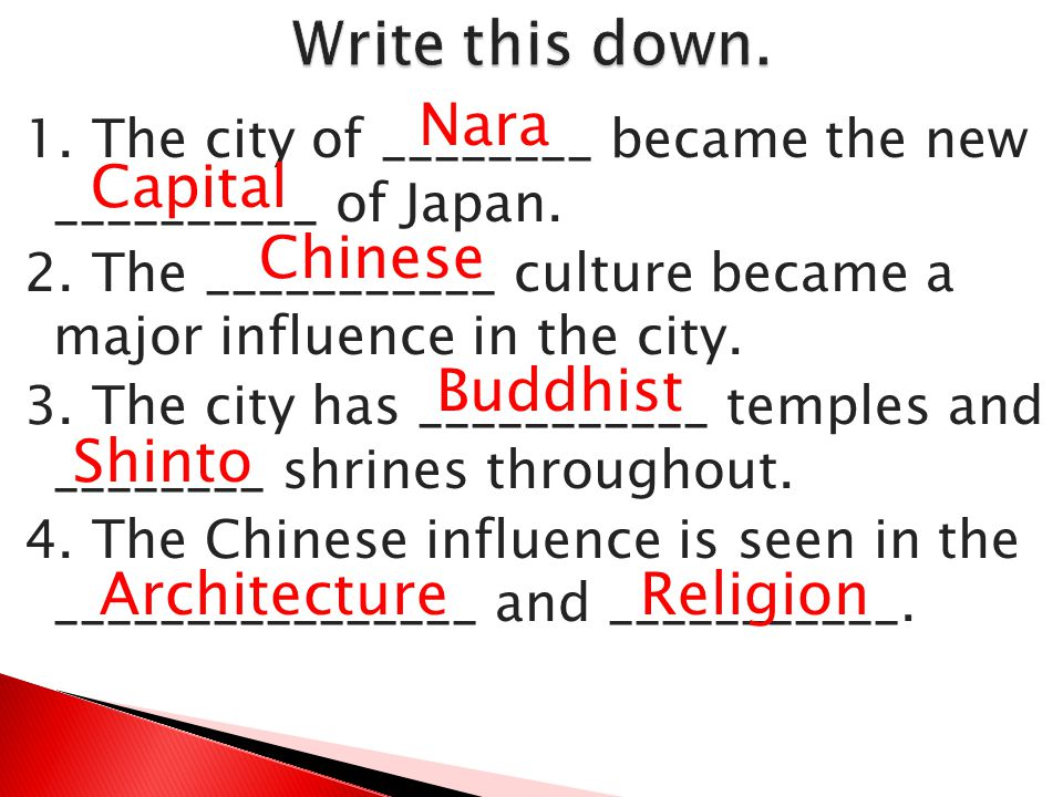 Write this down. Nara Capital Chinese Buddhist Shinto Architecture