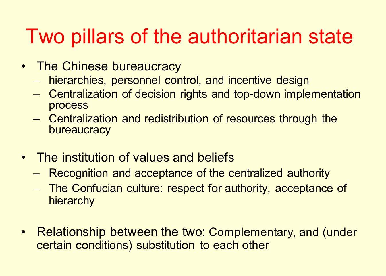 Two pillars of the authoritarian state