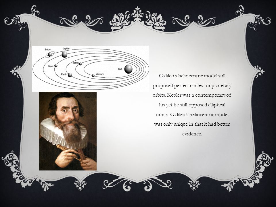 Galileo's heliocentric model still proposed perfect circles for planetary orbits.