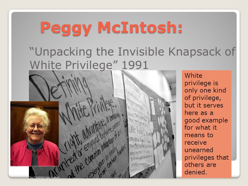 Peggy McIntosh: Unpacking the Invisible Knapsack of White Privilege 1991.