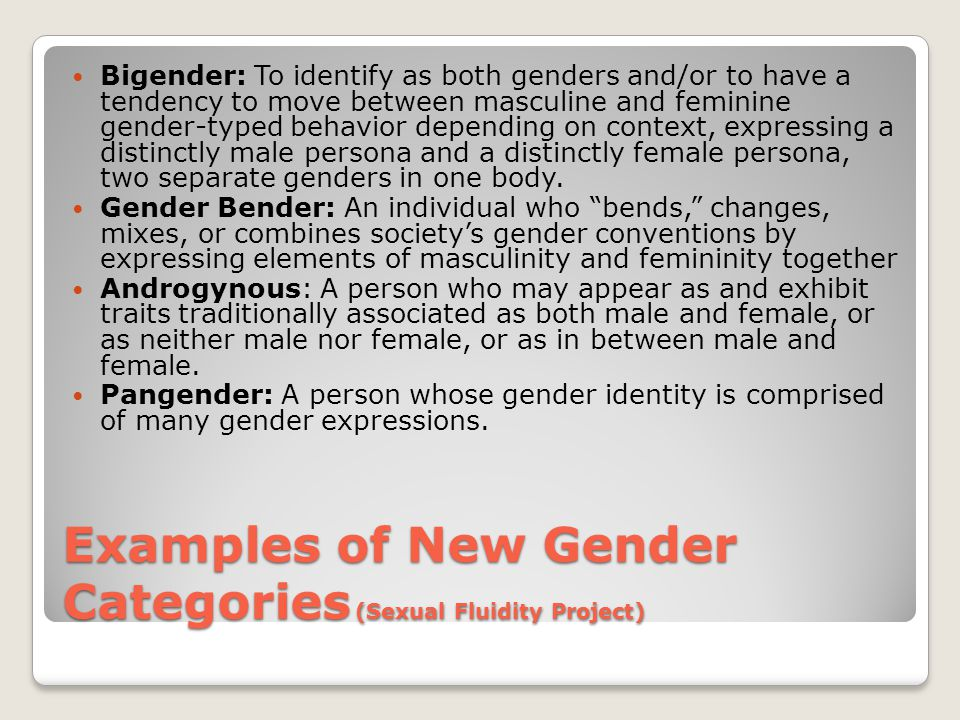 Examples of New Gender Categories (Sexual Fluidity Project)
