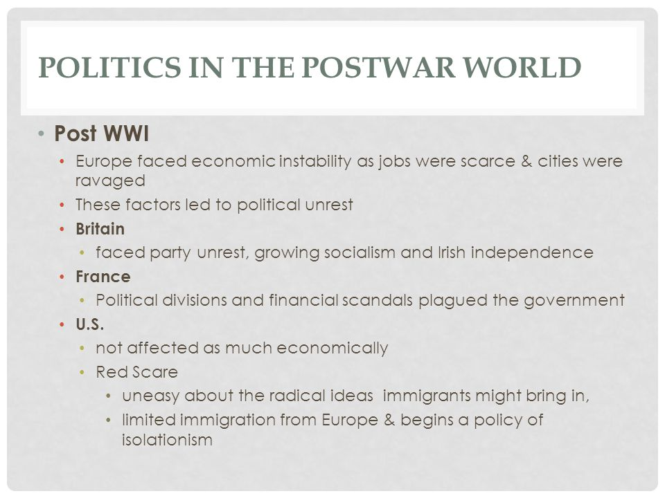 Politics in the Postwar World