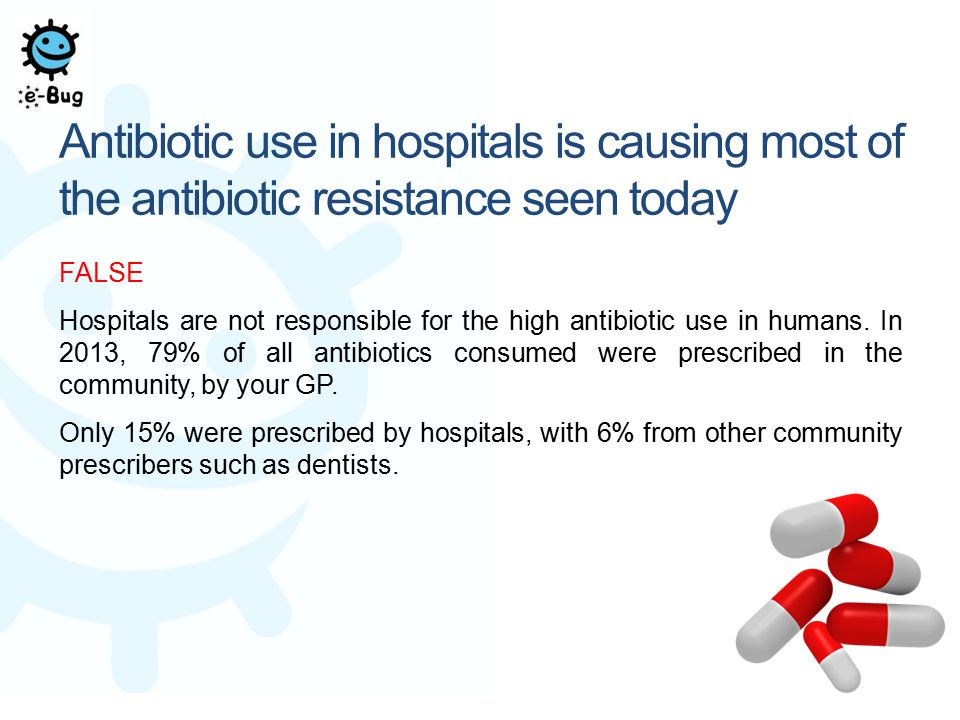 Antibiotic use in hospitals is causing most of the antibiotic resistance seen today