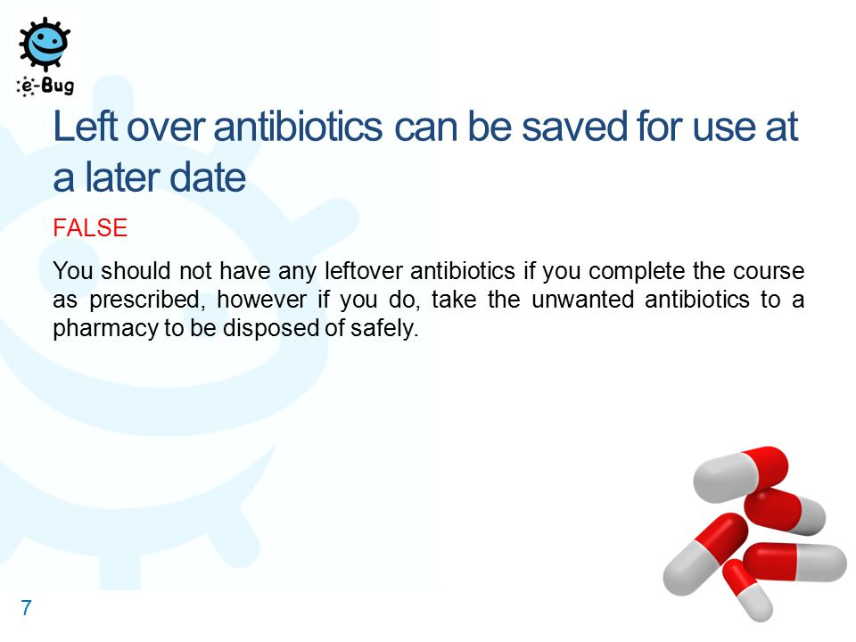 Left over antibiotics can be saved for use at a later date