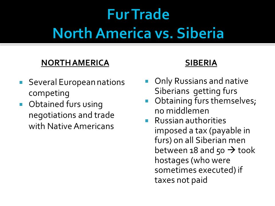 Fur Trade North America vs. Siberia