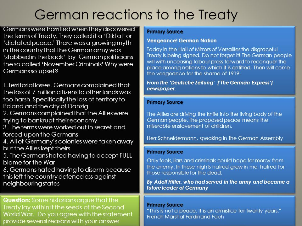 German reactions to the Treaty
