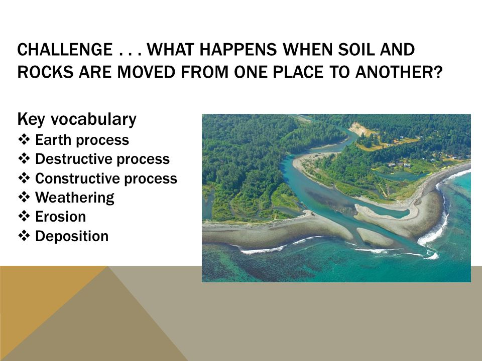 Challenge . . . What happens when soil and rocks are moved from one place to another