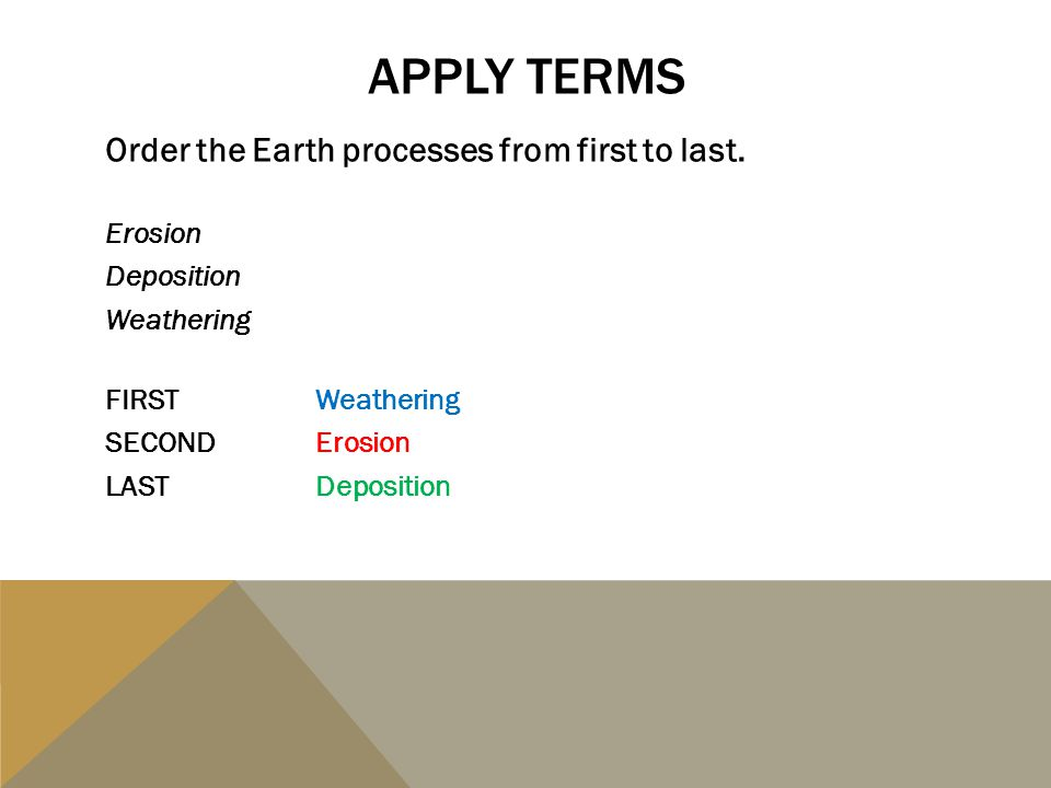 Apply TERMS Order the Earth processes from first to last. Erosion