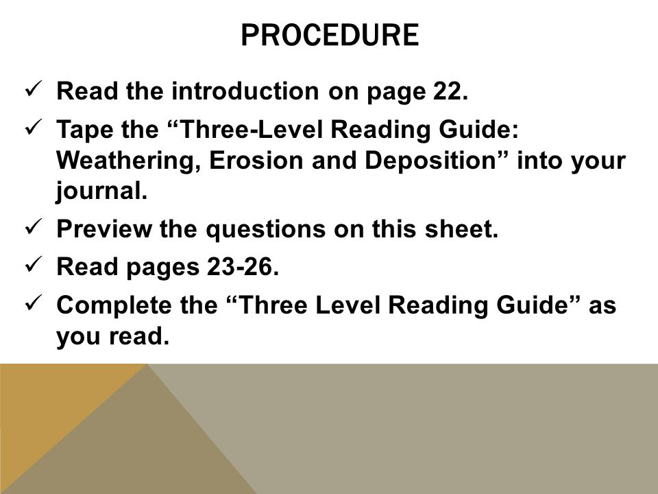 PROCEdure Read the introduction on page 22.