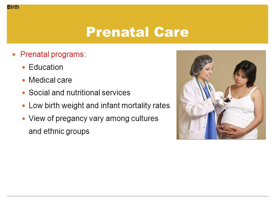 Prenatal Care Prenatal programs: Education Medical care