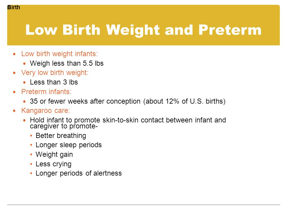 Low Birth Weight and Preterm