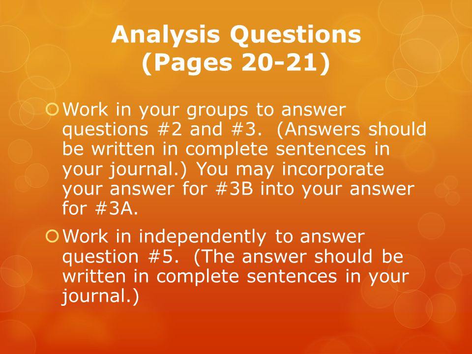 Analysis Questions (Pages 20-21)