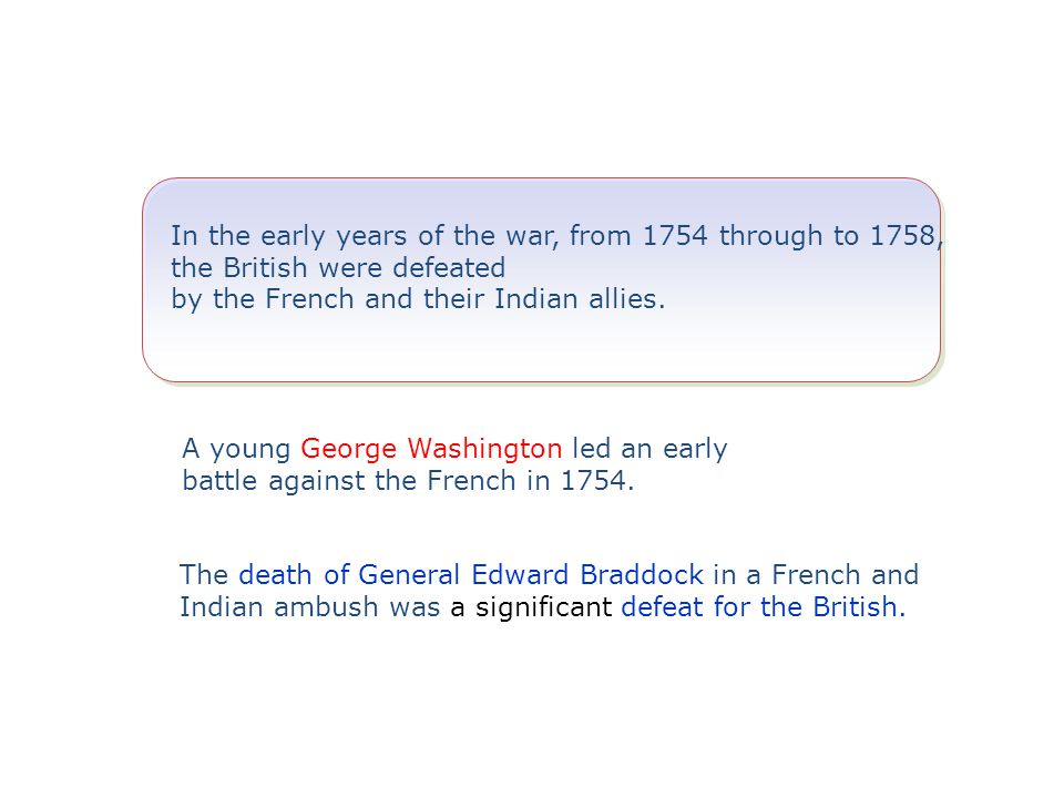 In the early years of the war, from 1754 through to 1758, the British were defeated by the French and their Indian allies.