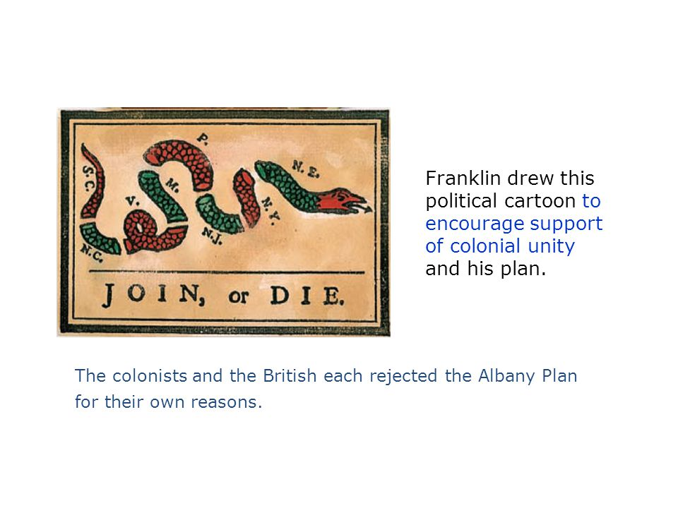 Franklin drew this political cartoon to encourage support of colonial unity and his plan.