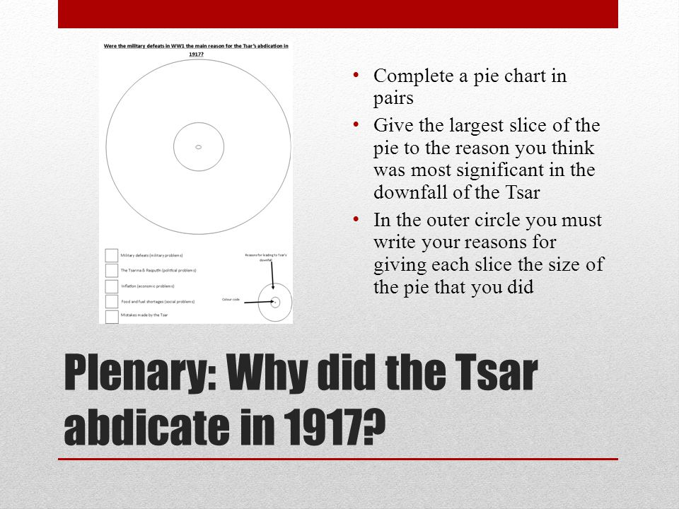 Plenary: Why did the Tsar abdicate in 1917