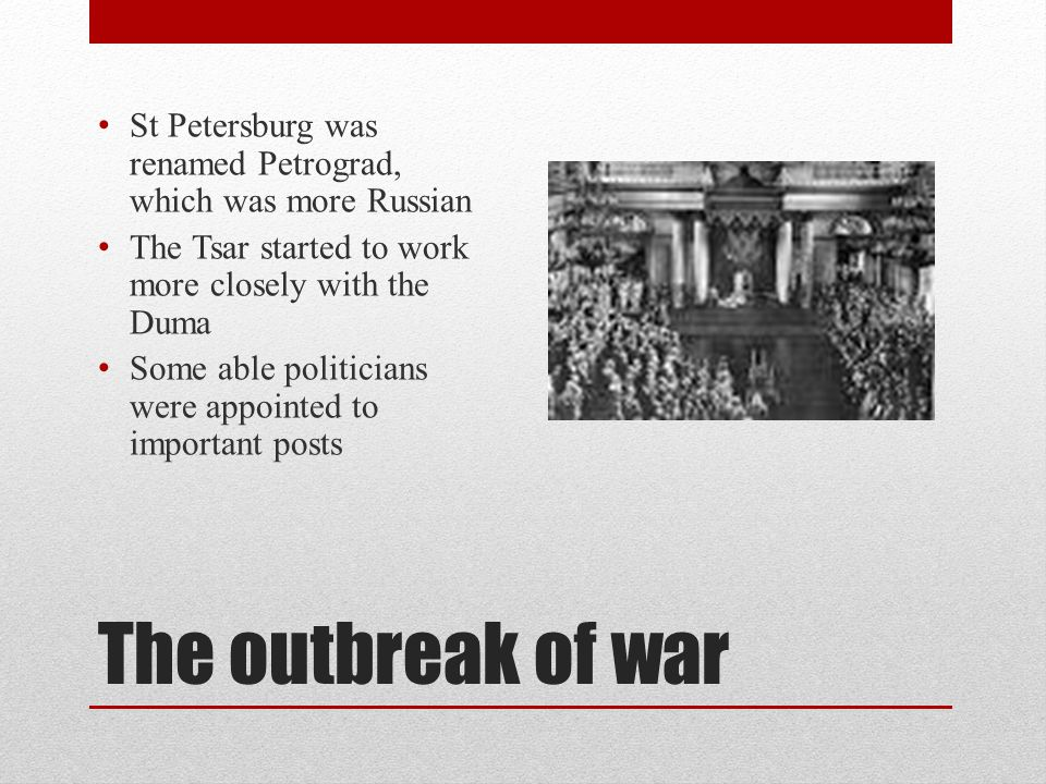 St Petersburg was renamed Petrograd, which was more Russian