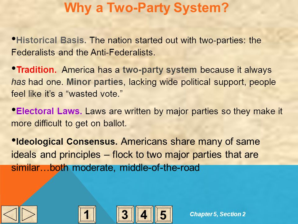 Why a Two-Party System Historical Basis. The nation started out with two-parties: the Federalists and the Anti-Federalists.