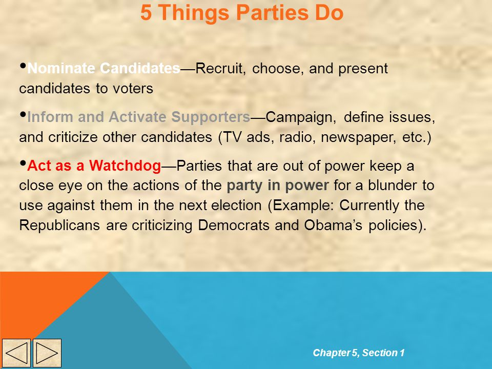 5 Things Parties Do Nominate Candidates—Recruit, choose, and present candidates to voters.
