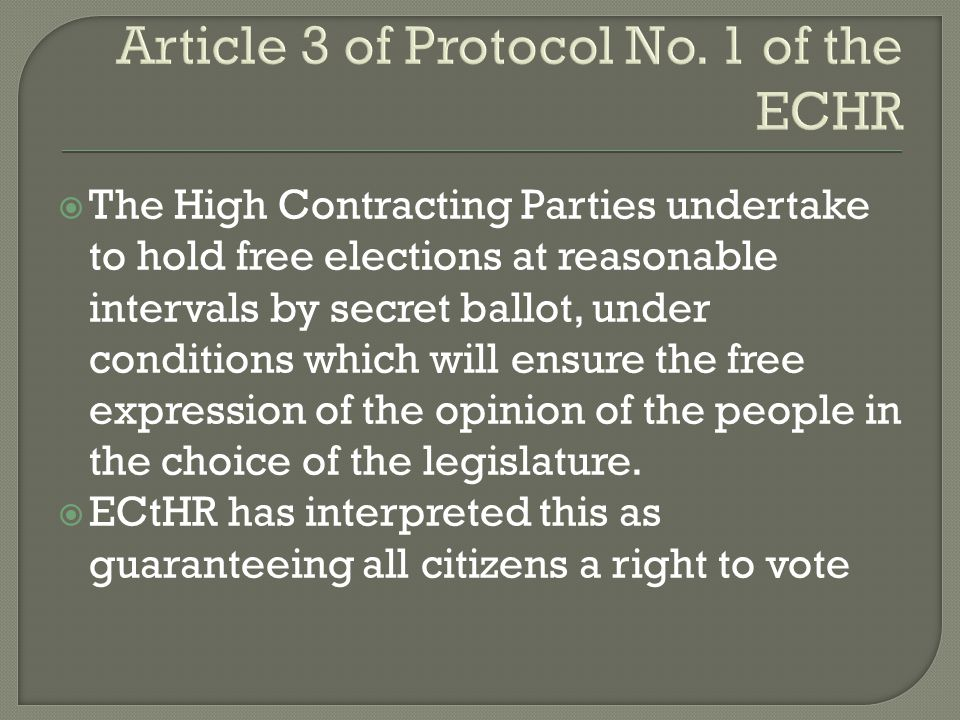 Article 3 of Protocol No. 1 of the ECHR