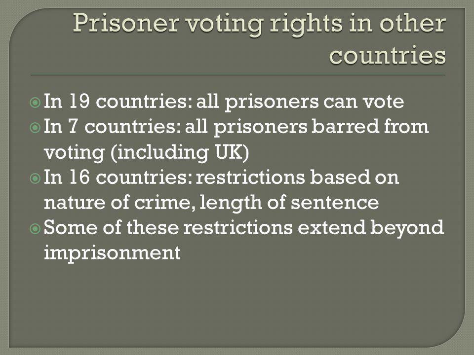 Prisoner voting rights in other countries