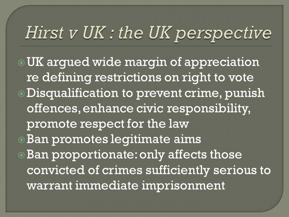 Hirst v UK : the UK perspective